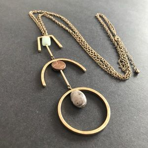 Long Gold Geometric Chain Necklace